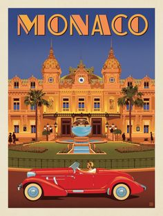 Anderson design group – world travel – monaco: monte carlo casino art deco posters, Casino Monte Carlo, Monte Carlo Monaco, Usa Tumblr, Car Illustration, Retro Cars, Vintage Cars, Vintage Travel Posters, Countries Of The World, Belle Photo