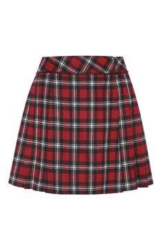 Primark - Red Check Pleat Skirt