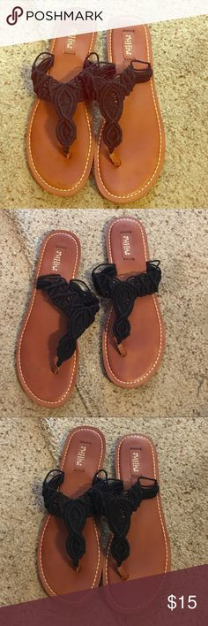 Crochet Black Flip Flops! Only worn once! $15 Only worn once! Size 10 Black Crochet Flip Flops! Goes with everything! $15 Shoes