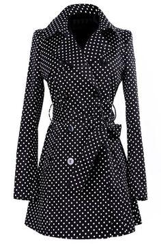 »Vintage Turn-Down Collar Long Sleeve Polka Dot Self Tie Belt Women's Coat #Dress« #fashion #fashionandaccessories #polkadots