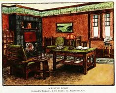 A LIVING ROOM Designed by Works of L. & J. G. Stickley. Inc.. Fayetteville, NY. From Home Building and Decoration by Henry Collins Brown (1912).