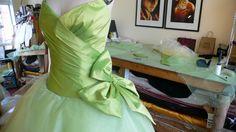 creating Measha Brueggergosman chartreuse gown