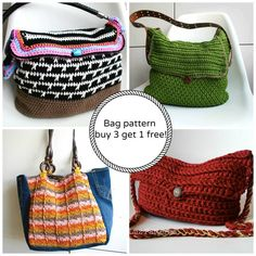 Limited time offer: Buy 3 bag patterns get 1 FREE from designer Luz Mendoza. #NatCroMo #crochet #crochetpattern #freebie