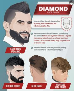 Hairstyles For Diamond Face Men - Fringe Faux Hawk Brush Up Side Sweep Shag Long Slick Back Textured Crop and Short Beard - - Face Shape Hairstyles Men, Haircut For Face Shape, Face Cut, Cool Mens Haircuts, Cool Hairstyles For Men, Men's Hairstyles, Mens Face Shape, Hairstyles Haircuts, Fringe Hairstyles