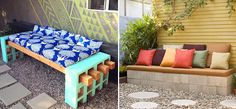 DIY cinder block benches