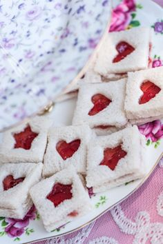 Jam Sandwiches with heart windows via Kara's Tea Party Ideas. #Tea #TeaTimeFood