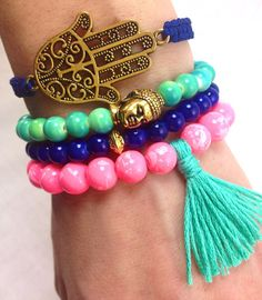 Mint Hot Pink and Indigo Boho Bracelet Stack Buddha by dAnnonEtsy