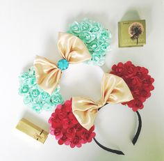 Floral princess #lindakreation #LKMOUSEEARS ears jasmine belle Disney Princess  movie ears Mickey Minnie