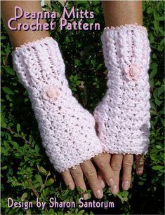 Deanna Mitts Fingerless Mitten Crochet Pattern by creeksendinc, $1.99