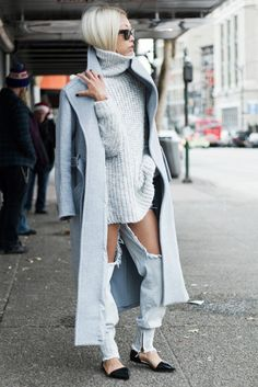 Pair destroyed jeans with luxe knits, a structured coat, and patent leather flats for balance like Vanessa Hong of The Haute Pursuit