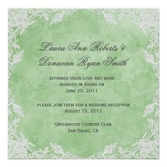 ShoppingElegant Spring Green White Floral Damask Post Wedd Custom InvitesIn our offer link above you will see