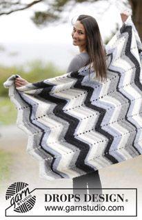 "Crochet DROPS blanket with zig-zag in ""Air"". ~ DROPS Design"