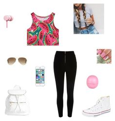 """""""watermelon """" by synclairel ❤ liked on Polyvore featuring Chicnova Fashion, Converse, Boohoo, River Island, Nicki Minaj, Ray-Ban, women's clothing, women, female and woman"""