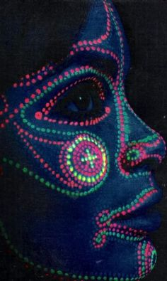 Psychedelic neon face paint in Eye Magazine, 1968.