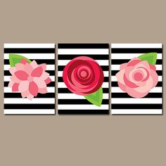 Preppy Flower Wall Art Artwork ROSES Red Pink Black White Stripes Nursery Floral Wedding Bouquet Dahlia Set of 3 Prints from TRM Design. Saved to Wall.