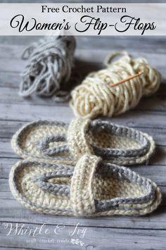 Free Crochet Pattern - Women's Strap Flip-Flops   Whistle & Ivy