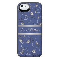 Medical Nurse Doctor themed stethoscopes Name iPhone SE/5/5s Battery Case - nursing nurse nurses medical diy cyo personalize gift idea
