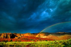 Rainbow after a storm, Snow Canyon State Park, Ivins (near St. George), Utah USA