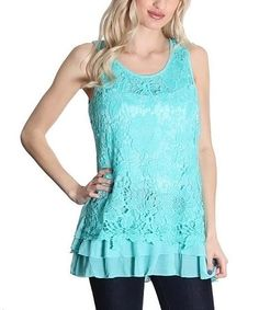 Another great find on #zulily! Mint Lace Ruffle Tank #zulilyfinds