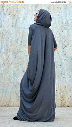 YELLOW SALE 25% OFF Extravagant Grey Hooded Dress / Loose Grey Hoodie / Long Hooded Maxi Dress / Extravagant Hoodie Tdk200