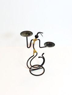 African Art Candle Holder, Sculptured Metal Figure Art, Double Candle Holder, Folk Art, African Culture, Room Decoration, Epsteam Vintage via Etsy