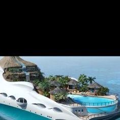 Island Yachts! Your own private waterfall on a yacht! Something I will never be able to afford. Ha! So cool!!!