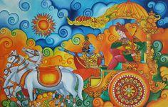 Geethopadesam Acrylic painting Kerala Mural Painting, Indian Art Paintings, Madhubani Art, Madhubani Painting, Fabric Painting, Painting & Drawing, Simple Acrylic Paintings, Indian Folk Art, Krishna Painting