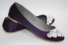 Purple Wedding Flats - Lace Wedding Flats - Choose From 14 Colors - Flat Bridal Shoes - Purple Ballet Slippers - Wedding Slippers - Comfy on Etsy, $153.14 AUD