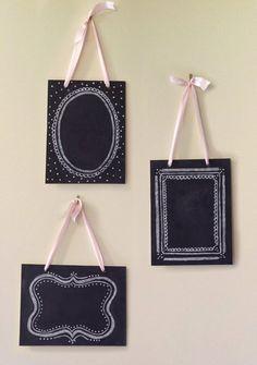 Set of 3 Vintage Chalkboards - Shabby Chic Decor - Wedding Chalkboards -  Hanging Chalkboards