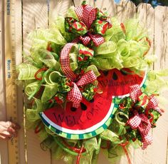 Personalized Watermelon Wreath. Made of Deco Mesh.
