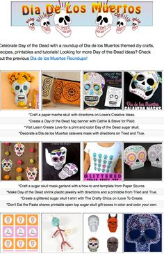 16 Dia de los Muertos project tutorials, crafty recipes and printables for kids and adults!