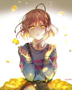 Undertale Frisk and flowers (golden eyes 0^0)