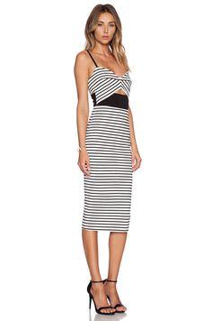 NICHOLAS Breton Stripe Bra Dress in White & Black | REVOLVE