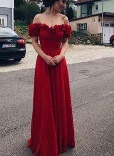 Wine Red Off Shoulder Floral Floor Length Prom Dresses, Red Party Dres – BeMyBridesmaid