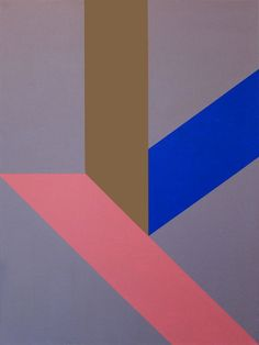 Pink & Blue Geometric Art Canvas 48 x 36 As by kristiangoddard
