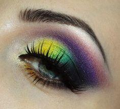 yellow green, purple  #beauty #eyeshadow #makeup