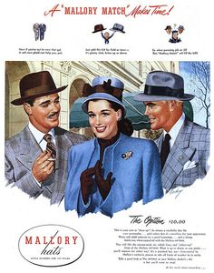 """Gentlemen, want to impress the ladies?  Wear a plaid suit and a rakish """"either-way"""" hat.  A well-trimmed mustache helps, too.  (Mallory Hats, Collier's, 1946)"""