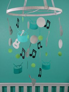 Rock and Roll Mobile  White Teal Light Gray by whimsicalaccents Modern Baby Mobiles Handmade Paper Mobiles Ceiling Decor Nursery Decoration Hanging Baby Mobile Crib Mobile Baby Shower Gift Photo Prop Birthday Gift Classroom Decor  Drums Guitar Music Notes Boy Girl Bedroom