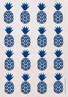 E Pineapple Print Tea Towel (Royal Blue on White)