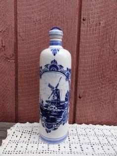 Delft Blue Liquor Bottle