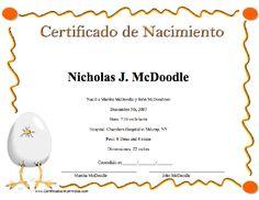 Certificado de Nacimiento para imprimir los certificados, gratis para descargar e imprimir