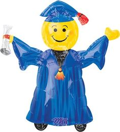 """Smiley Grad Blue Mini Shapes 14"""" Globo Met Gr, COD: 1078602, UPC Code: 1078602, Venta En Linea, Mayoreo Globos, Metálicos/Mylar/Metalizados, Graduacion, México. Teleglobos.com"""