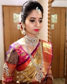 bridal jewelry for the radiant bride South Indian Bride Jewellery, Indian Jewelry, Gold Wedding Jewelry, Bridal Jewellery, Latest Jewellery, Wedding Silk Saree, Bridal Makeup Looks, Indian Bridal Fashion, Bridal Blouse Designs