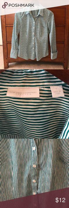 New York & Company Button Down Shirt Cuff sleeves, stretch material New York & Company Tops Button Down Shirts