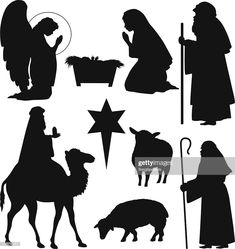 Silhouettes royalty-free christmas# nativity silhouettes stock vector art & more images of nativity scene Outdoor Nativity Scene, Diy Nativity, Christmas Nativity Scene, Christmas Deco, A Christmas Story, Christmas Crafts, Nativity Scenes, Christmas Printables, Christmas Bells