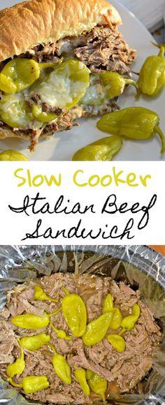 Slow Cooker Italian Beef Sandwich recipe with slow cooked, tender beef, delicious golden Mezzetta peperoncini, and soft bread. #Ad #Dontforgettamezzetta