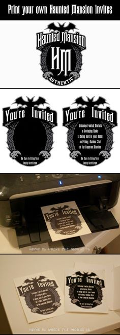 DIY: You can make a Haunted Mansion Halloween Party invitation from any logo found online.  All you need is photoshop, a printer, heavy paper stock and perhaps the Ravenscroft font..found on this pin board.