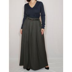 Gray Wool Skirt Women Long Skirt High Waisted Maxi Skirt With Pockets ($49) ❤ liked on Polyvore featuring skirts, dark olive, women's clothing, long ankle length skirts, maxi skirts, long gray skirt, grey skirt and high-waist skirt