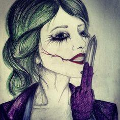 My Drawing of the female joker joker dark knight DC comics pencil sketch purple green art