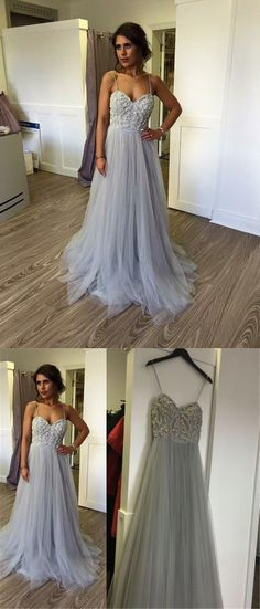 Elegant Prom Dress,Spaghetti Straps Prom Dress,Long Prom Dress,Beautiful Prom Dresses,Backless Evening Dress